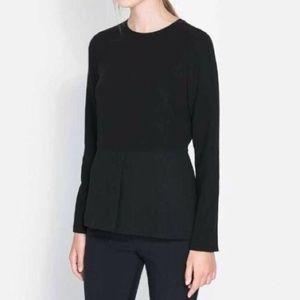 Zara Sz XS black peplum long sleeve shirt
